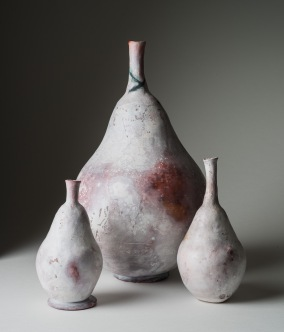 Smoke fired Pear shaped vessle